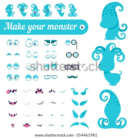 Monster creation kit. Set for construction of vector avatars monsters. - stock vector