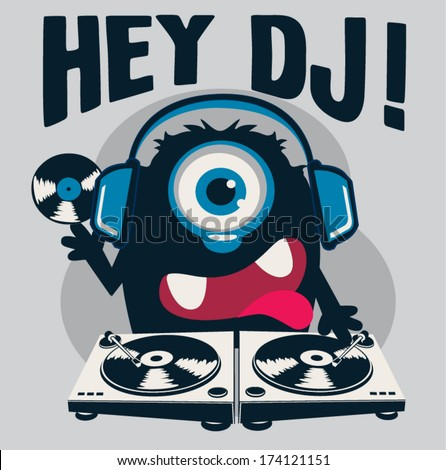 monster dj - stock vector