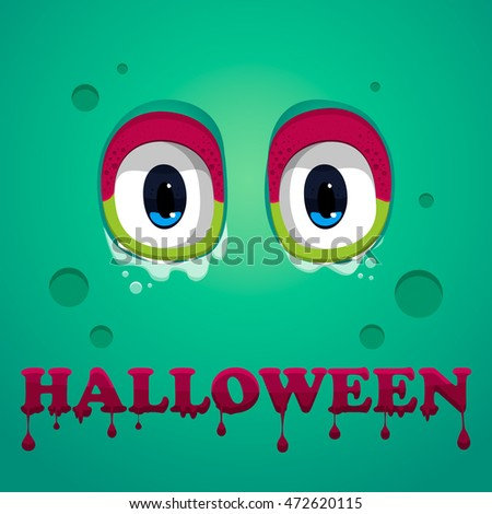 Monster eyes . Halloween text.Vector.Monster eyes on violet background. Halloween text.Vector.Halloween illustration.Halloween poster design.Halloween Background.Flat Halloween monster Icon.