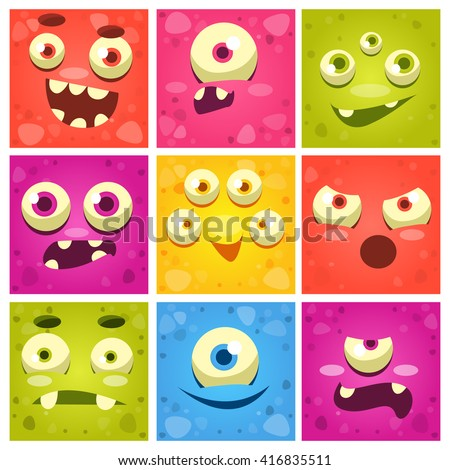 Monster Faces Set Of Cute Cartoon Funny Images In Bright Color Childish Vector Design