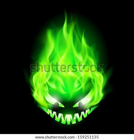 Monster head blazing in green on black background. - stock vector