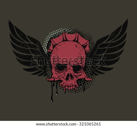 monster head with wings on grunge background. Vector illustration.