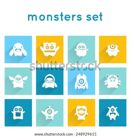 Monster icons funny mutant animal creature emoticons set isolated vector illustration - stock vector