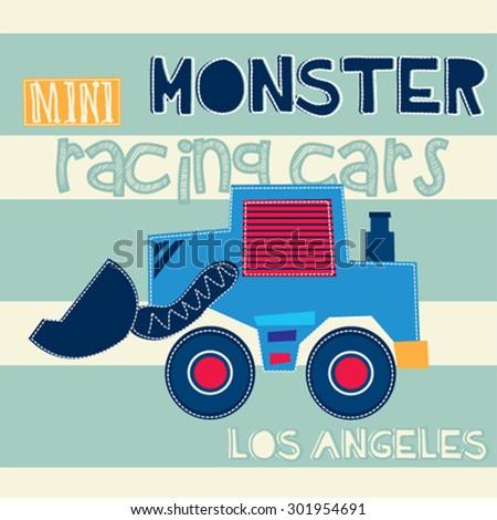 monster mini racing cars, T-shirt design vector illustration - stock vector