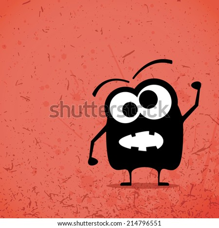 Monster on grunge background - stock vector
