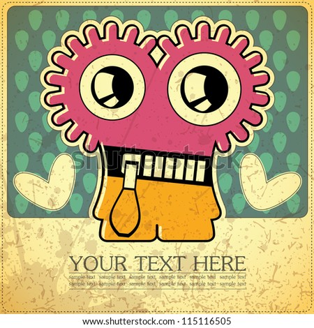 Monster on retro background - stock vector