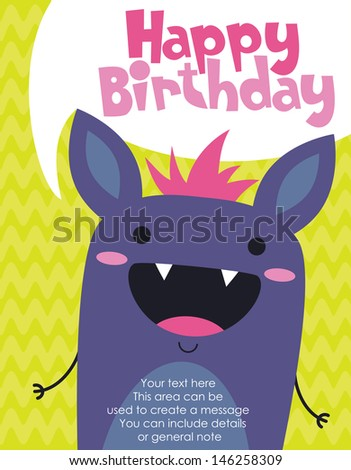 monster party card design. vector illustration - stock vector