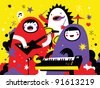 Monster rock band playing funky music - stock photo