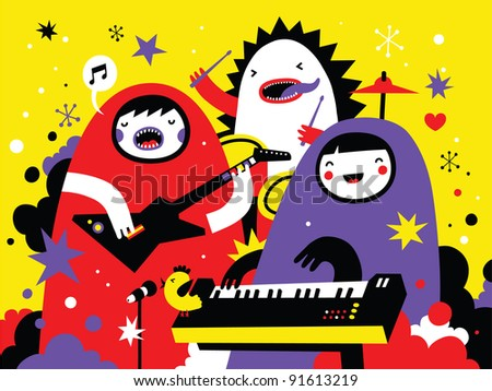 Monster rock band playing funky music - stock vector