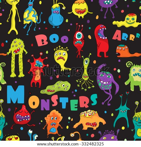 Monster seamless pattern. Hand drawn design for Halloween, Birthday and Baby Shower greeting cards, fabric, wrapping paper, invitation, stationery. Vector illustration. - stock vector