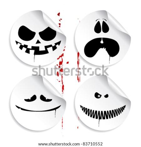 Monster smileys on blood background, set of halloween stickers. - stock vector
