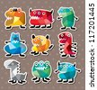 monster stickers - stock vector