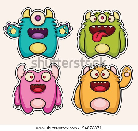 Monster stickers - stock vector