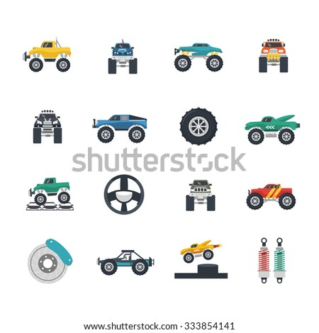 Monster truck and heavy vehicles flat icons set isolated vector illustration - stock vector