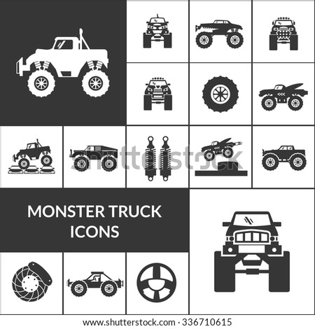Monster truck and huge auto black icons set isolated vector illustration - stock vector