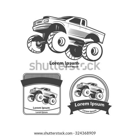 monster truck, bigfoot car, logo, design elements, simple illustration - stock vector