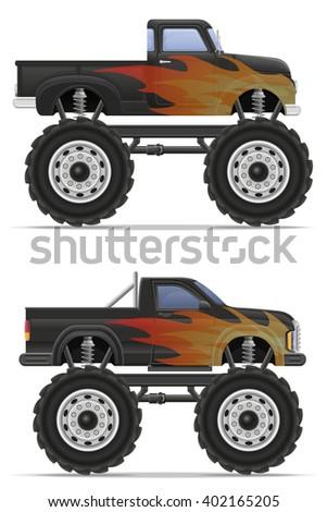 monster truck car pickup vector illustration isolated on white background - stock vector