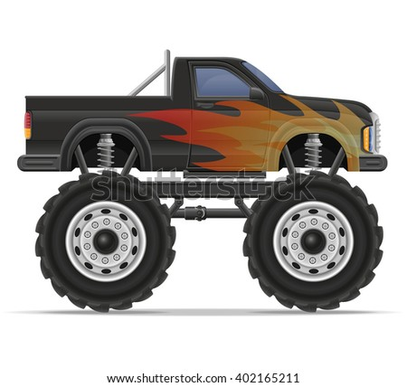 monster truck car pickup vector illustration isolated on white background - stock vector