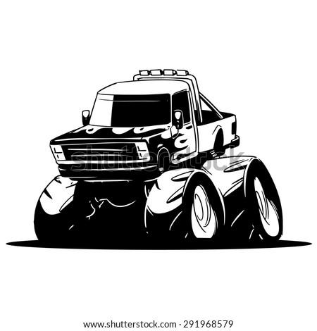 monster truck. cartoon illustration isolated on white background - stock vector