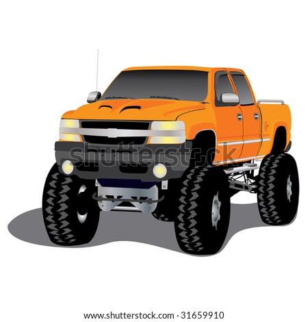 monster truck on the beach, vector illustration - stock vector