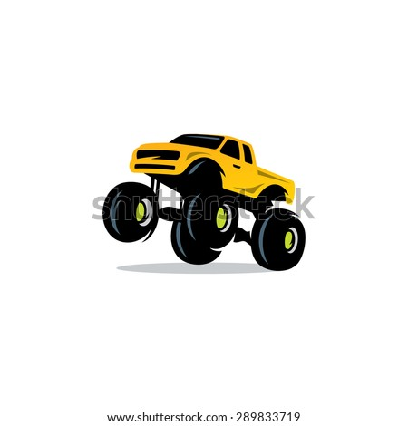 Monster Truck sign. The car on big wheels and high ground clearance. Vector Illustration. Branding Identity Corporate logo design template Isolated on a white background - stock vector