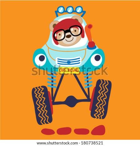 Monster Truck with a cute little teddy bear. Vector illustration - stock vector