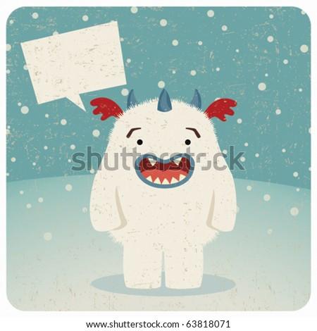 Monster under the snow n.1 - stock vector
