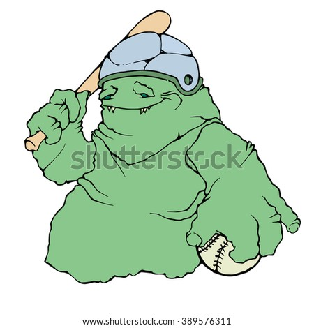 Monster with baseball bat and ball. White isolation. Stock vector illustration