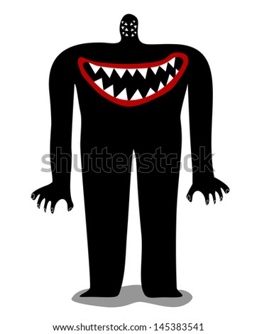 Monster with mouth in the chest - stock vector