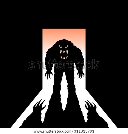 Monster with shadow in the open door - stock vector