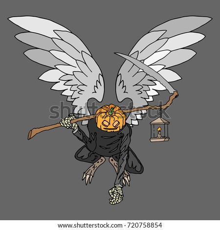 Monster With Wings Symmetrical Pumpkin A Scythe