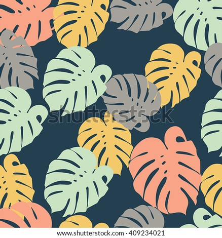 Monstera leaves seamless pattern pink yellow green colors on a dark background - stock vector