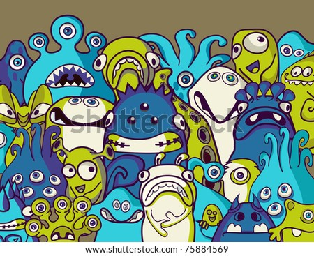 Monsters and aliens - stock vector