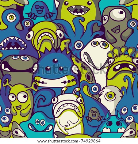 Monsters and aliens- seamless background - stock vector