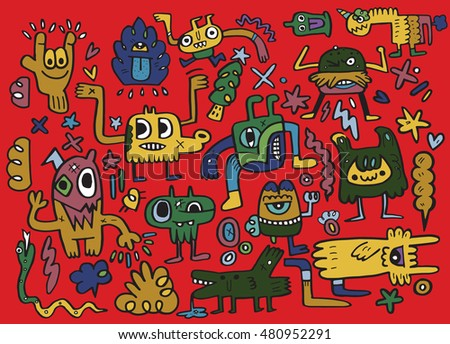 Monsters and cute alien, hand drawn monsters collection, vector illustration
