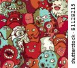Monsters and cute alien - seamless pattern - stock photo