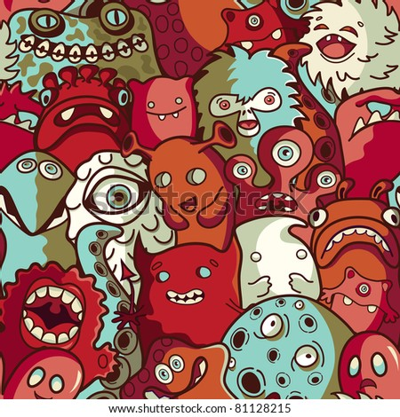Monsters and cute alien - seamless pattern