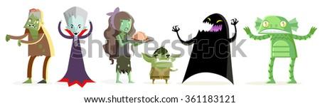 monsters creatures - stock vector