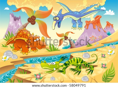 Monsters Dinosaurs with prehistoric background. Cartoon and vector illustration - stock vector