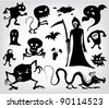 Monsters, Ghosts And The Grim Reaper, a collection of silhouettes for halloween, fantasy and horror. - stock vector