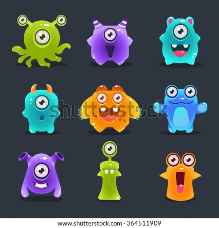 Monsters lovely cute set vector illustration concept