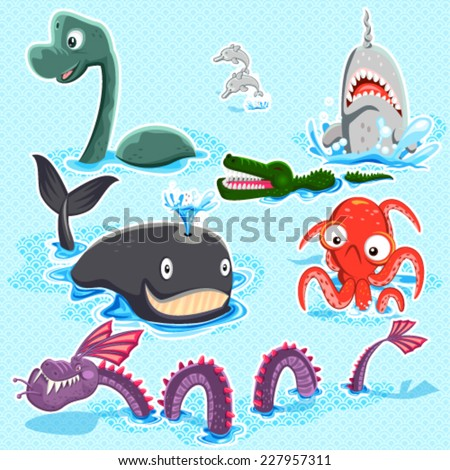 Monsters Of The Deep Blue Sea Collection Set - stock vector
