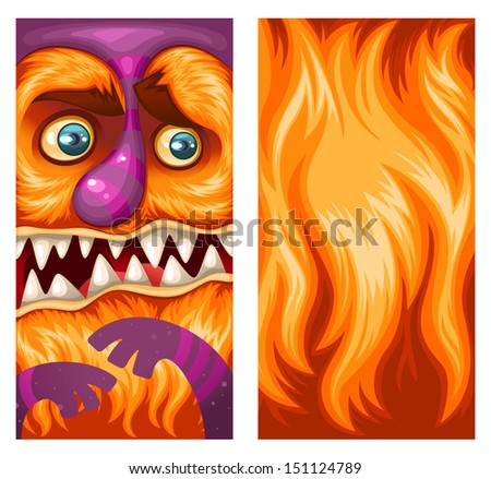 Monsters on the phone! Vector wallpaper illustration set for your smartphone. (the left one for lock screen and the right one for the home screen) - stock vector