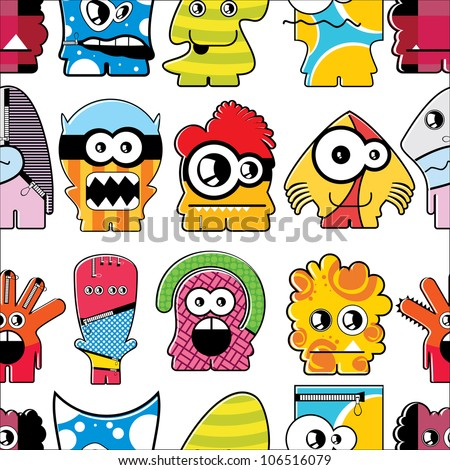 Monsters seamless - stock vector
