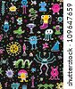 Monsters Seamless Pattern - stock vector