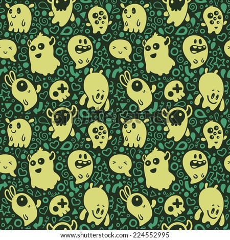 Monsters. Seamless Pattern. - stock vector