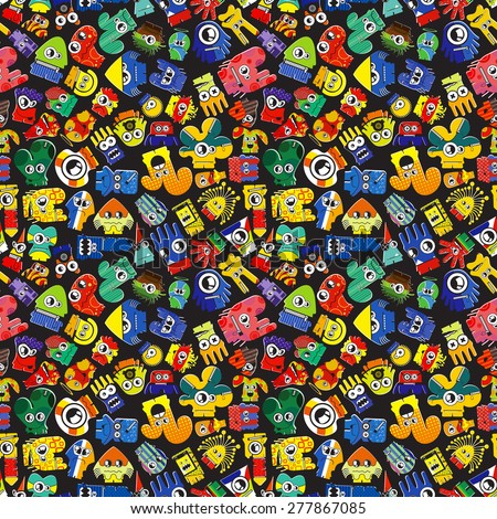 Monsters - seamless pattern. Vector illustration - stock vector