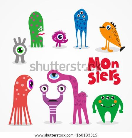 Monsters - vector set - stock vector
