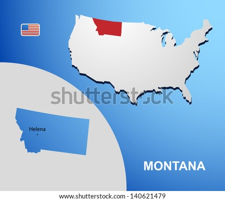 Montana on USA map with map of the state
