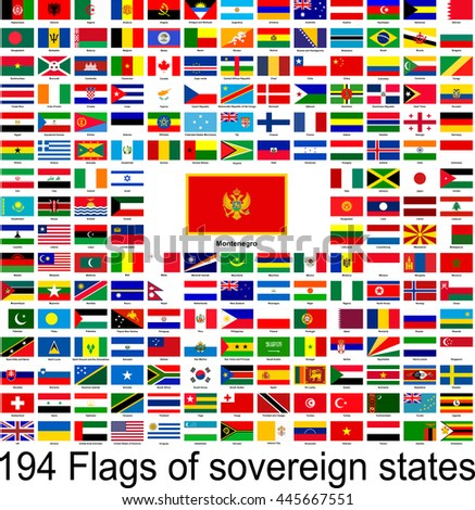 Montenegro, collection of vector images of flags of the world
